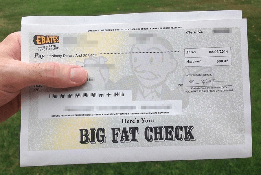 ebates cash back big fat check