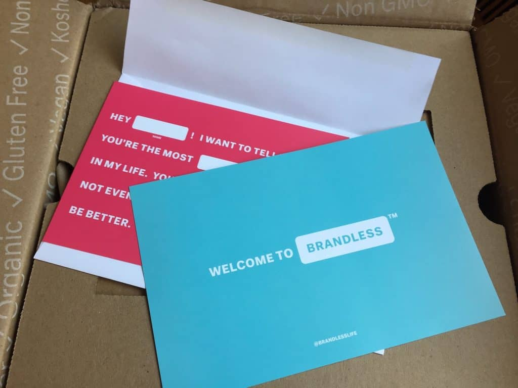 Brandless reviews welcome card in box