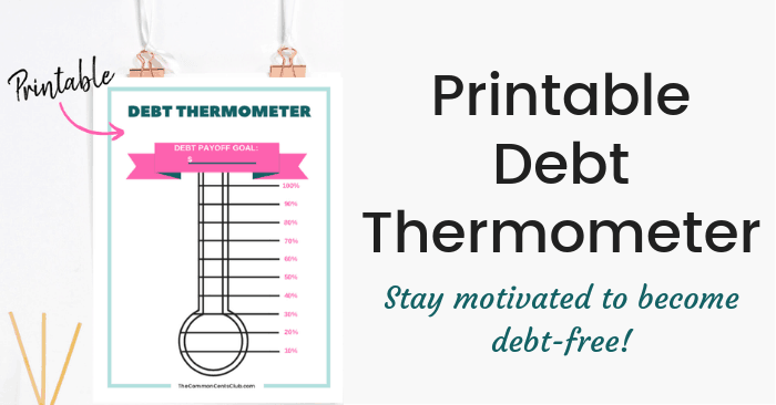 graphic regarding Printable Goal Thermometer identified as Totally free Credit card debt Thermometer Printable PDF - The Popular Cents Club