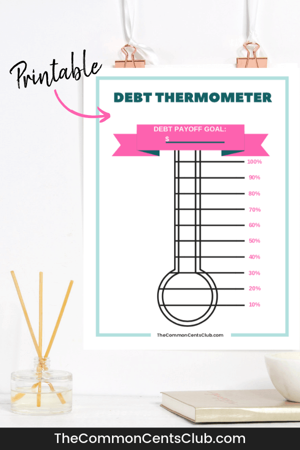picture regarding Free Printable Debt Free Charts identify No cost Credit card debt Thermometer Printable PDF - The Well-liked Cents Club