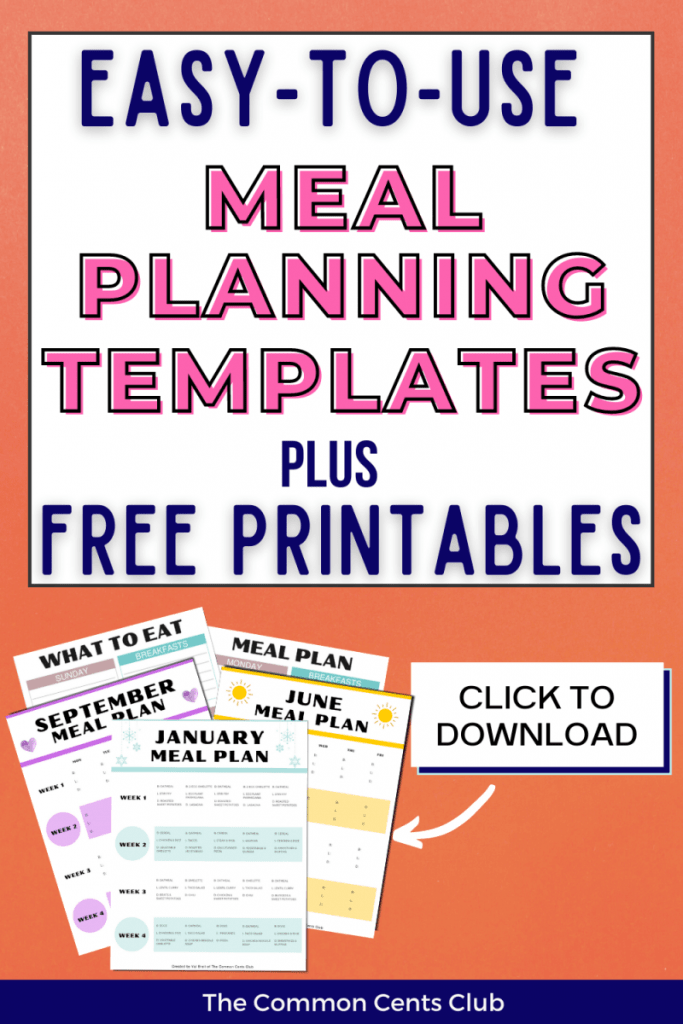easy-meal-planners-for-beginners-monthly-weekly-common-cents-club-pinterest